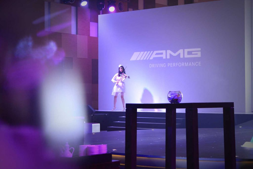 Violin show for AMG launch in Singapore